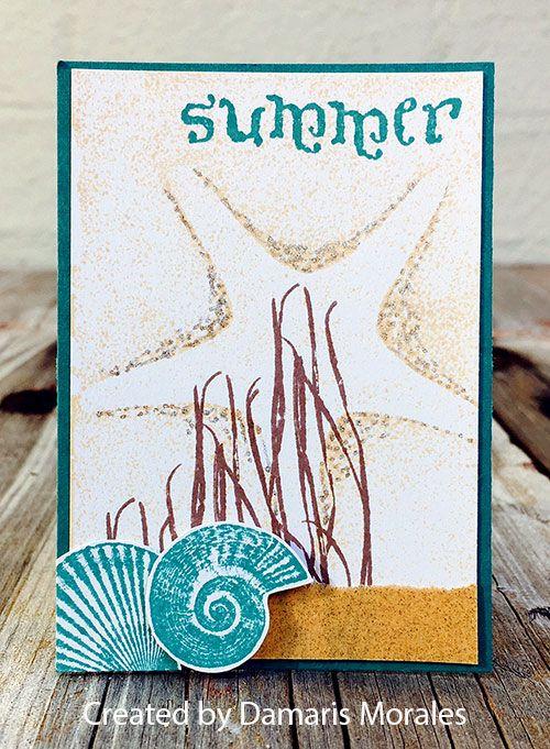 ATC by Damaris Morales using Darkroom Door Seaside Vol 1 Rubber Stamps - Summer Lovin' ATC Swap Gallery