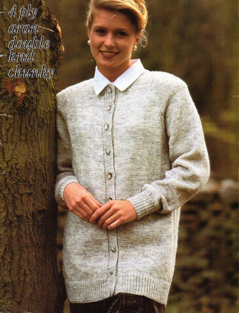 30773c082 womens classic cardigan knitting pattern pdf ladies long jacket larger  sizes 32-46