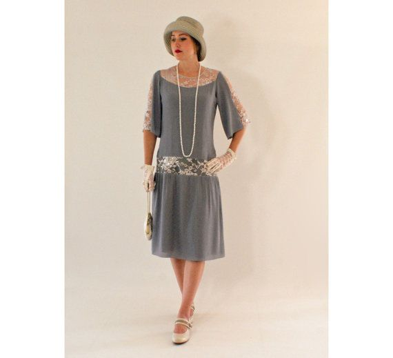 2a75433447f Grey Great Gatsby dress with elbow-length sleeves