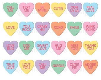 Candy Heart Clipart Embellishments 75 Romantic Candy Sweets Etsy Heart Candy Love Heart Sweets Valentines