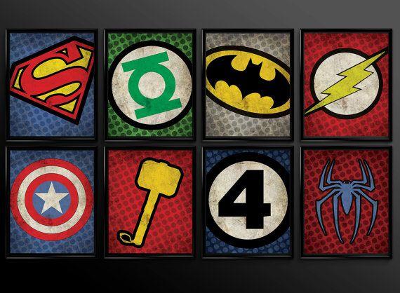 Superhero Kids Wall Art Decor Nursery Superman Batman Robin Comic Book Superheroes Set Of 16 Logos Baby Shower