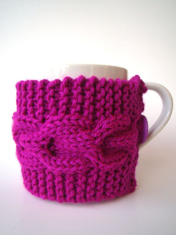 Knit Cup Cozy with Cable Pattern Bright Fuchsia Mug by ...