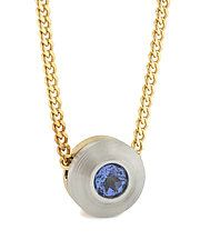 18K and Platinum Pendant with Tanzanite by Catherine Iskiw (Platinum, Gold, & Stone Necklace)
