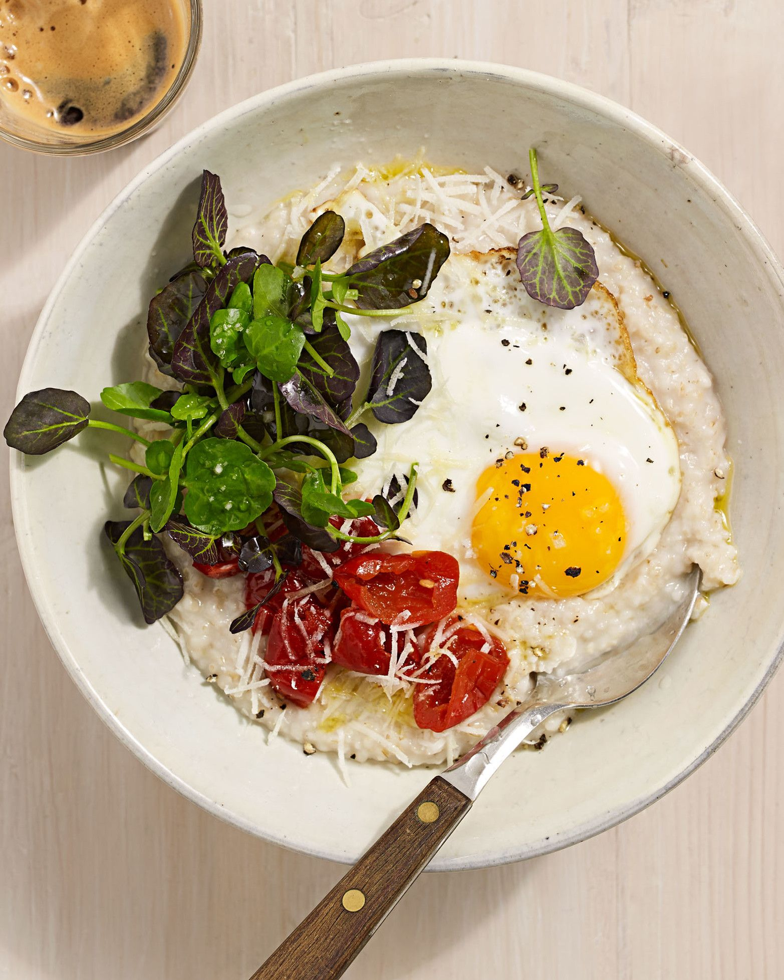 Creamy Parmesan Oats with Fried Egg Recipe