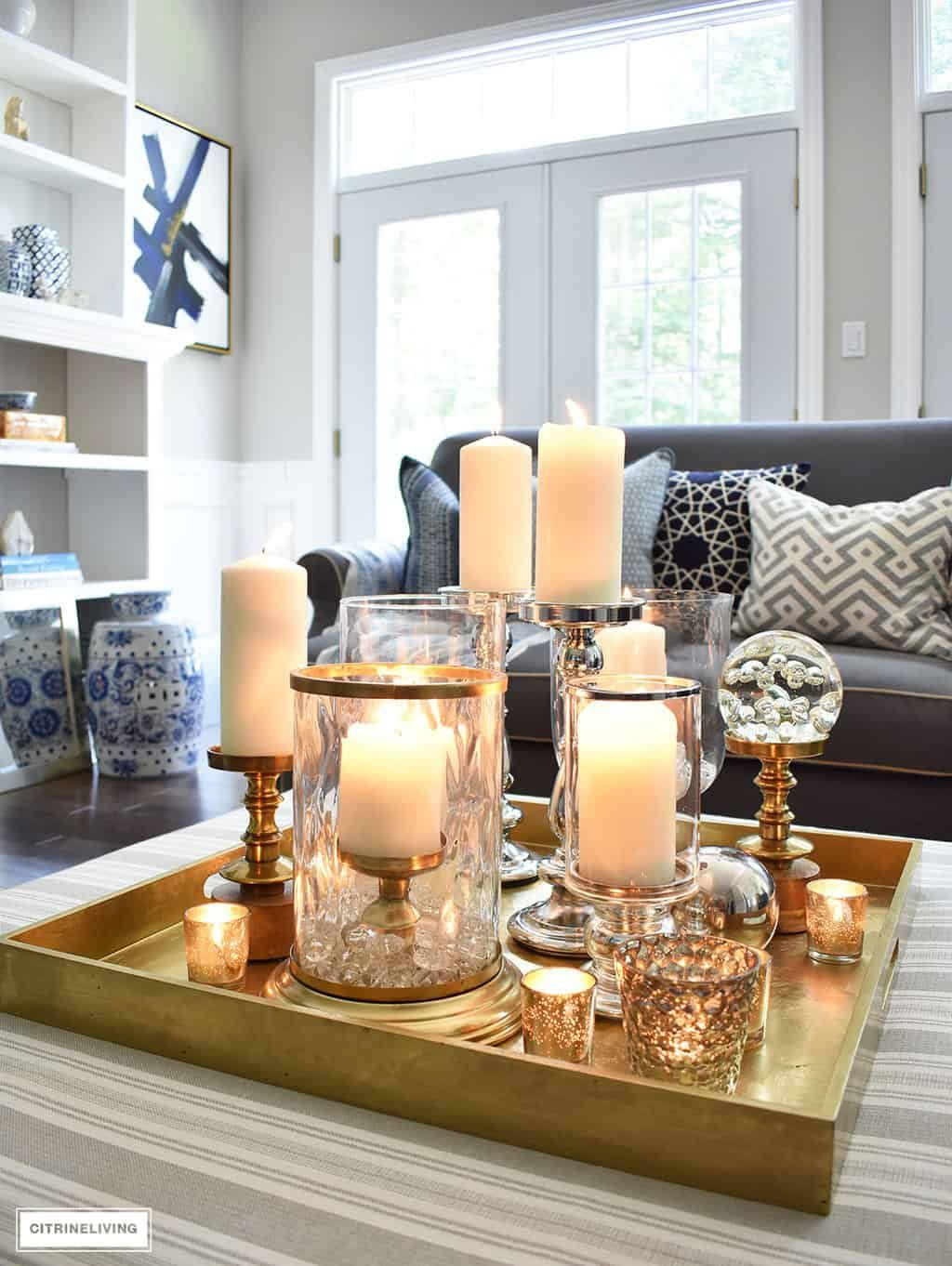 3 Ways To Style Your Coffee Table Or Ottoman Navy Blue