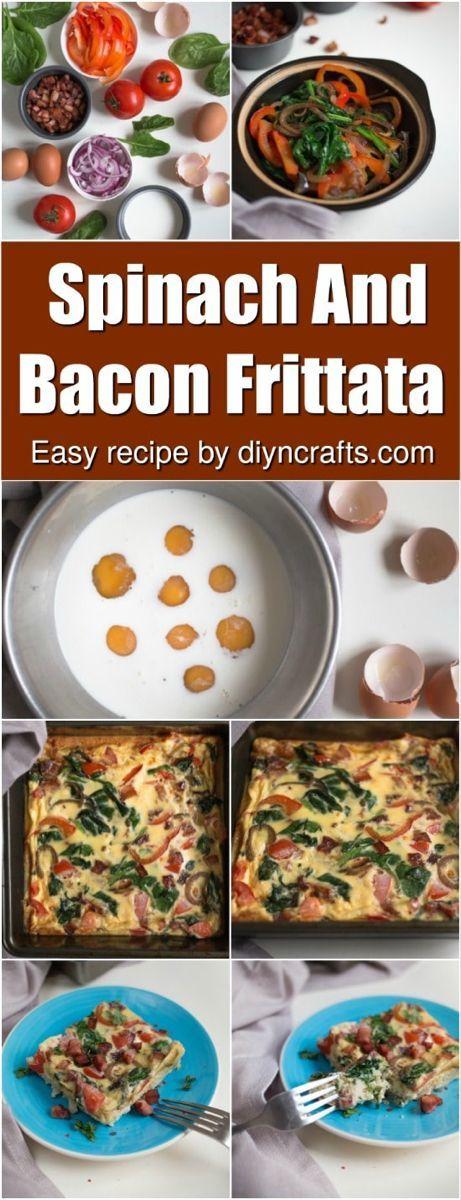 Delicious Spinach And Bacon Frittata #baconfrittata Wake Up To Deliciousness With This Spinach And Bacon Frittata. Really easy recipe providing a healthy breakfast! #baconfrittata