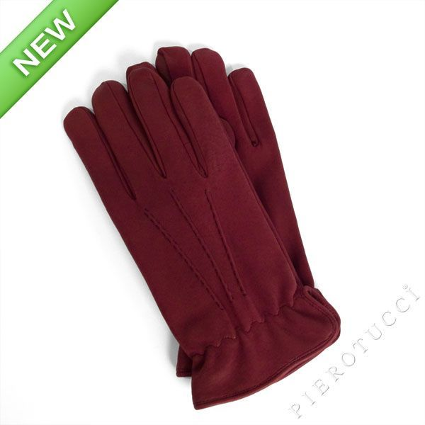Bordeaux nubuck leather gloves for men with wool lining