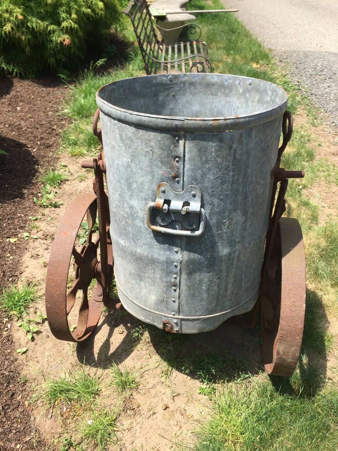 Wonderful Original Iron and Zinc English Water Barrow | From a unique collection of antique and modern garden ornaments at https://www.1stdibs.com/furniture/building-garden/garden-ornaments/