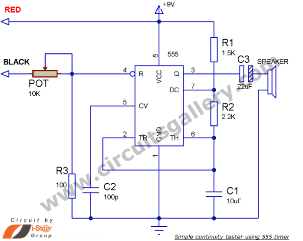 Continuity tester circuit using 555 electronics pinterest continuity tester circuit using 555 ccuart Choice Image