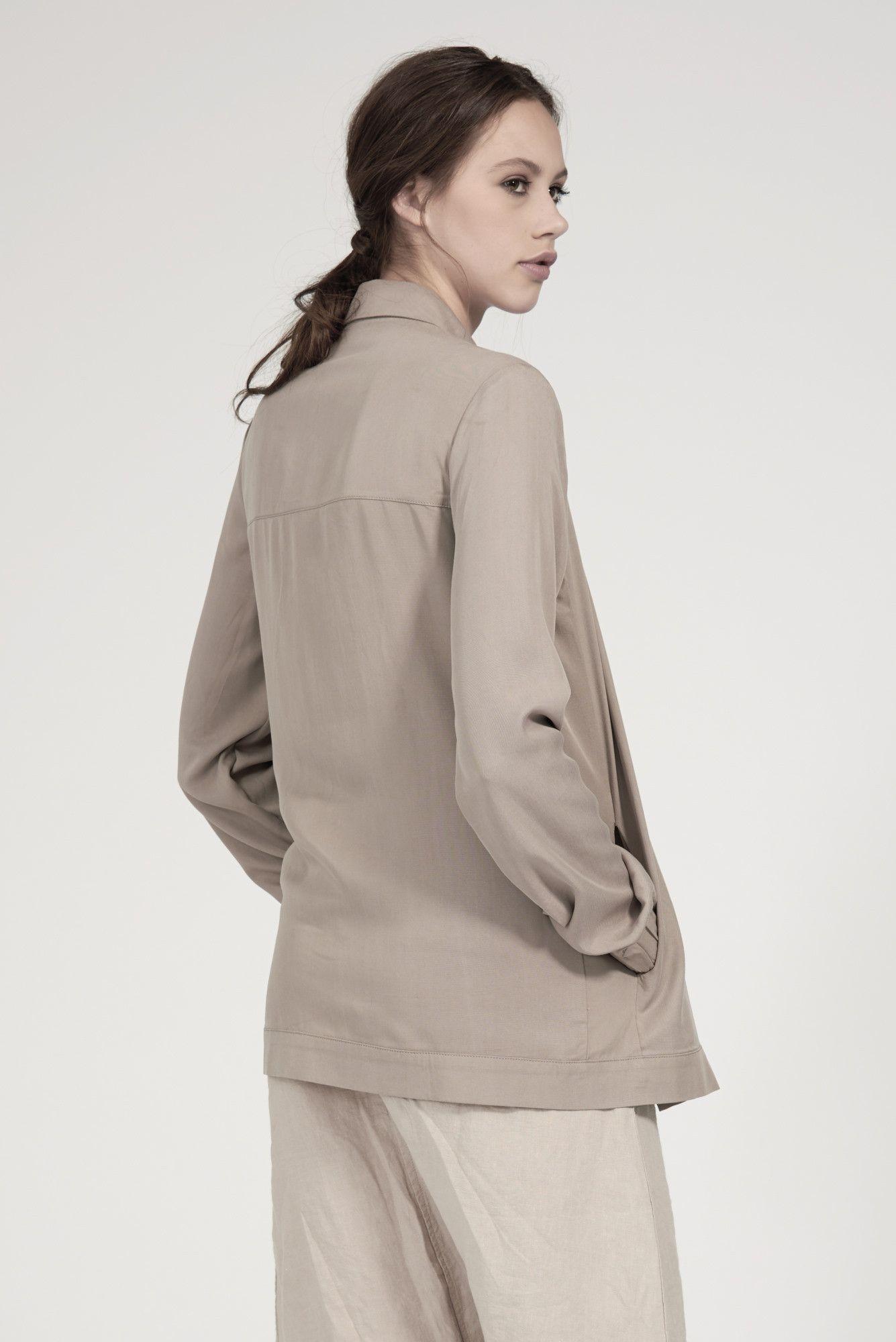 Long Asym Jacket in Beige