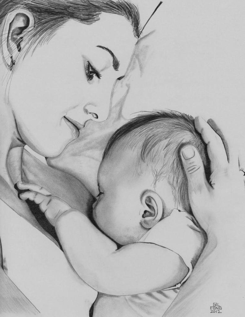Bildergebnis für mothers love pencil sketch