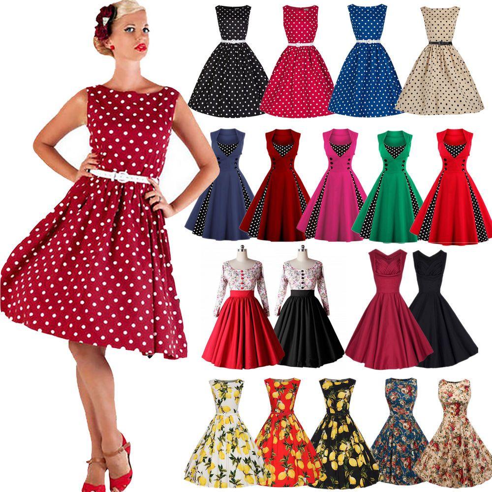 Damen Vintage 15er Jahre Rockabilly Partykleid Petticoat