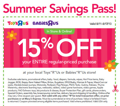 graphic relating to Printable Toysrus Coupons named ToysRUs/BabiesRUs- Obtain 15% Off Full Acquire w/ Printable