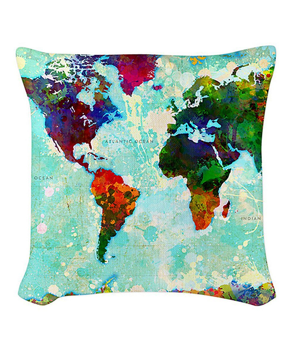 This World Map Burlap Pillow by CafePress is perfect! #zulilyfinds