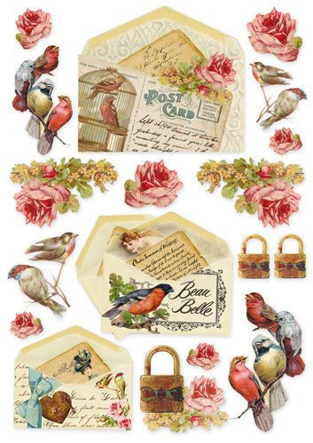 1 blatt din a decoupage papier reispapier dfsa4035 postcard with bird decoupage paper. Black Bedroom Furniture Sets. Home Design Ideas