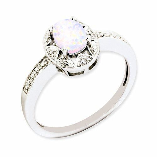 Sterling Silver Genuine Diamond Created White Opal Ring White