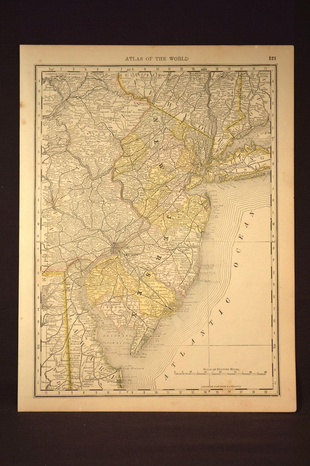 Antique New Jersey Map New Jersey Original Hand Colored | Map Wall ...