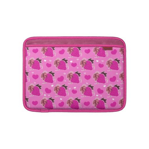 Strawberries and Hearts Pink Pattern MacBook Air Sleeves