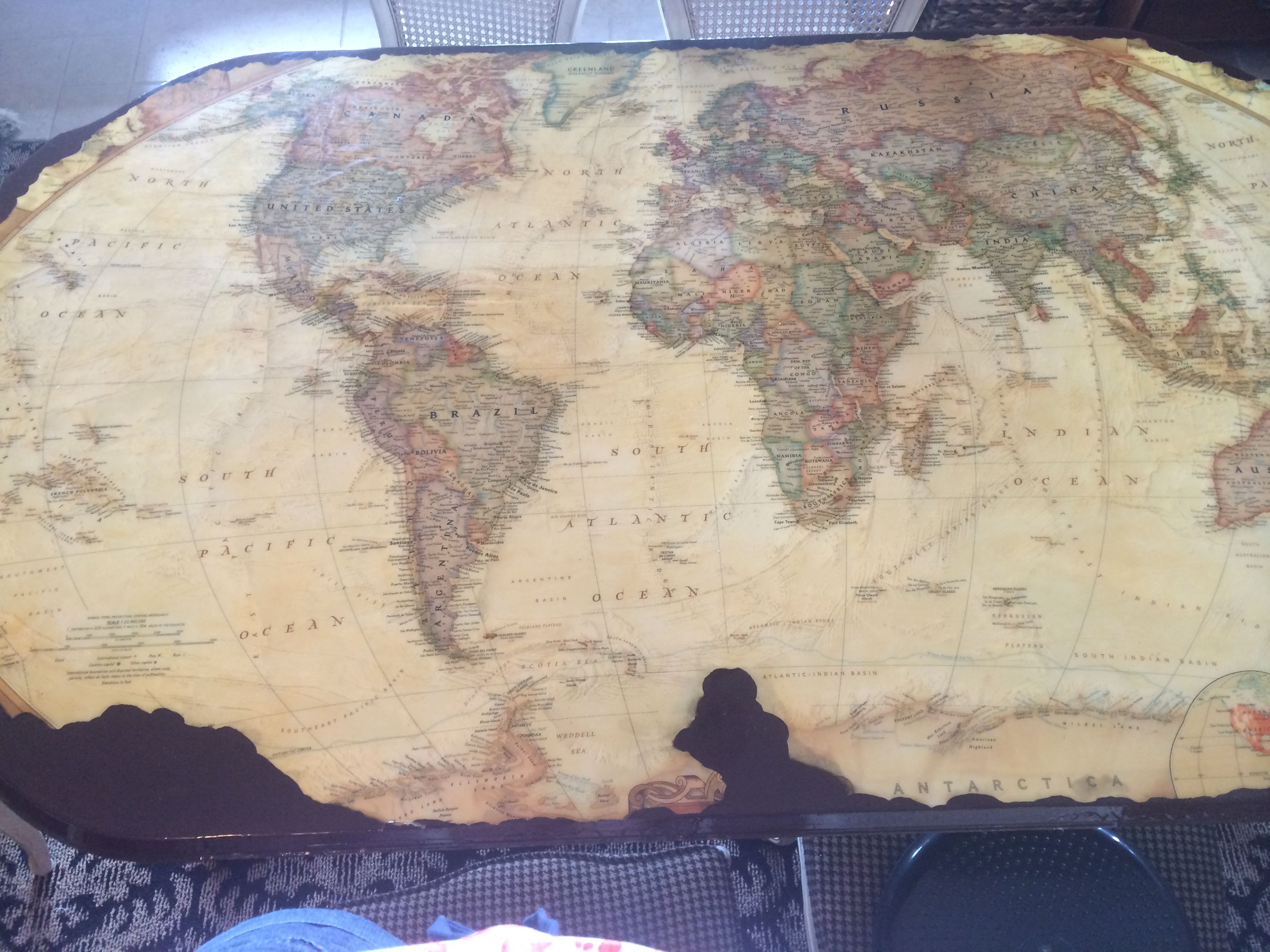 National Geographic map - turned Pirate map - on dining room table - Arrgh, Matey!