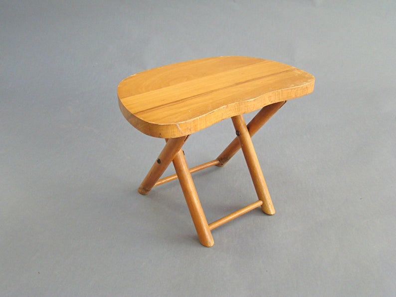 Vintage Nevco Stool Folding Stool Camp Stool Wooden
