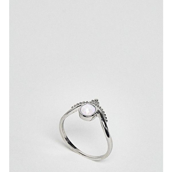 Asos Curve Exclusive Engraved Moonstone Ring - Silver W2B7K0