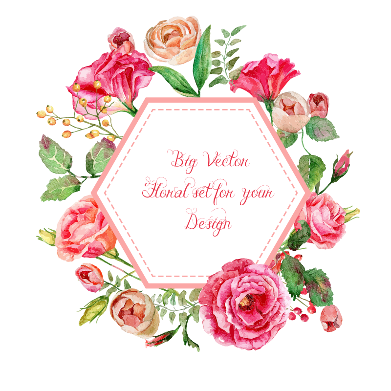 Hand-painted Flowers Vector Label, Vector, Watercolor