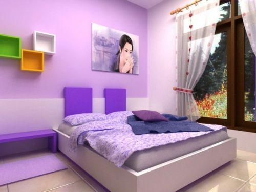 Farbgestaltung Fürs Jugendzimmer U2013 100 Deko  Und Einrichtungsideen    Mädchen Kinderzimmer Farbgestaltung Fürs Jugendzimmer Lila Farben Bett  Fenster