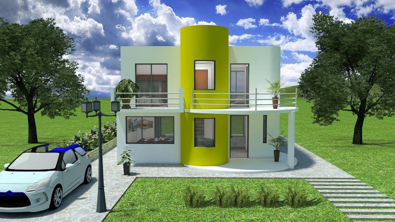 Dise os planos 3d casas 2 pisos minimalista sketchup - Diseno de casas 3d ...