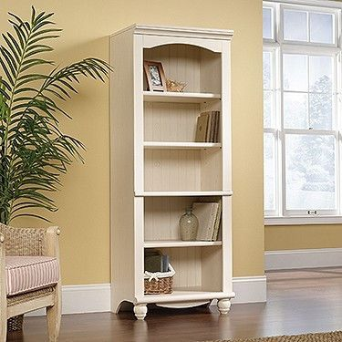 72 Cottage Style Bookcase In Antique White Finish