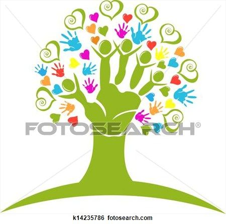 Tree hands and hearts figures logo View Large Illustration