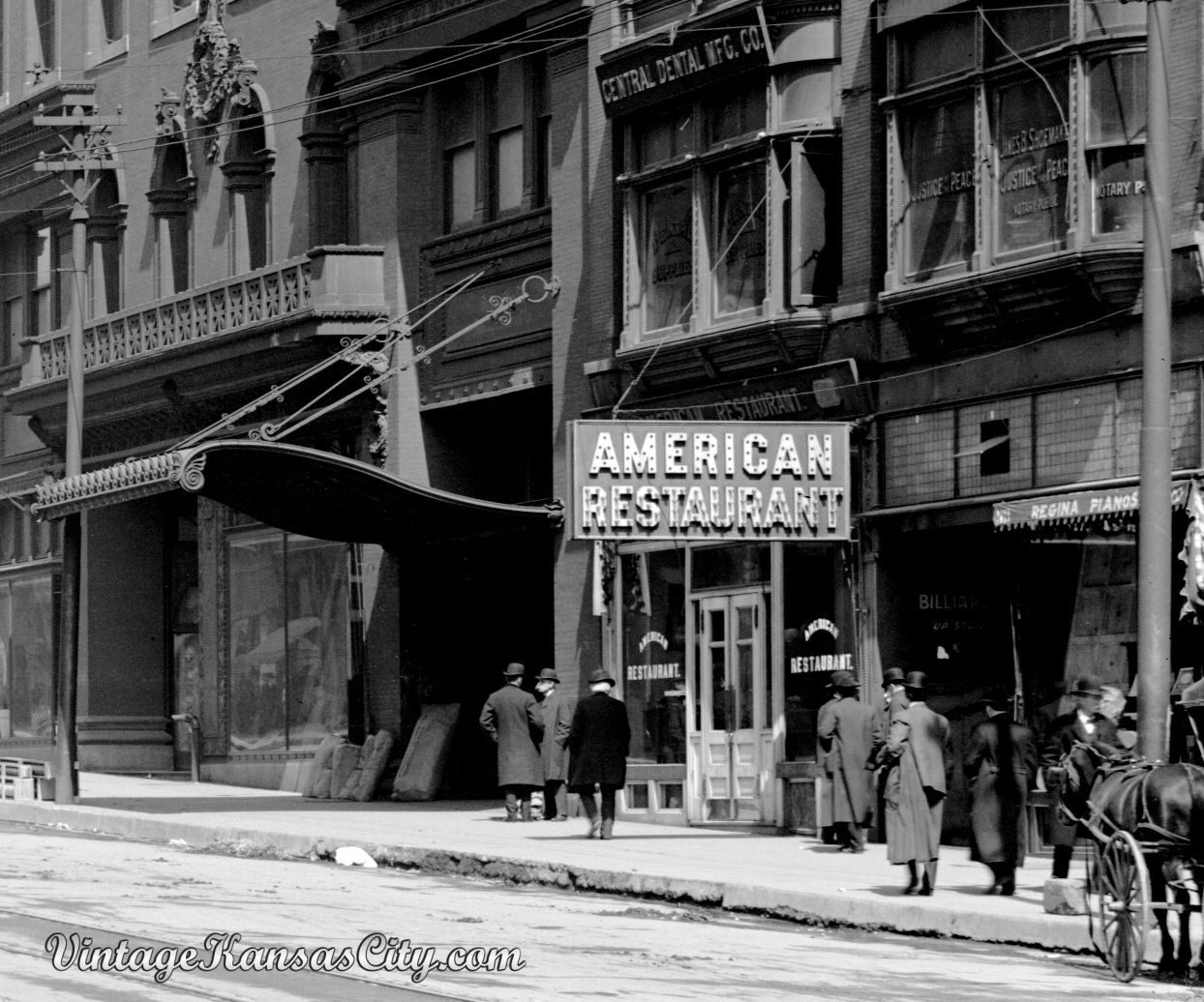 Outside The American Restaurant On Grand Avenue 1906 Kansas