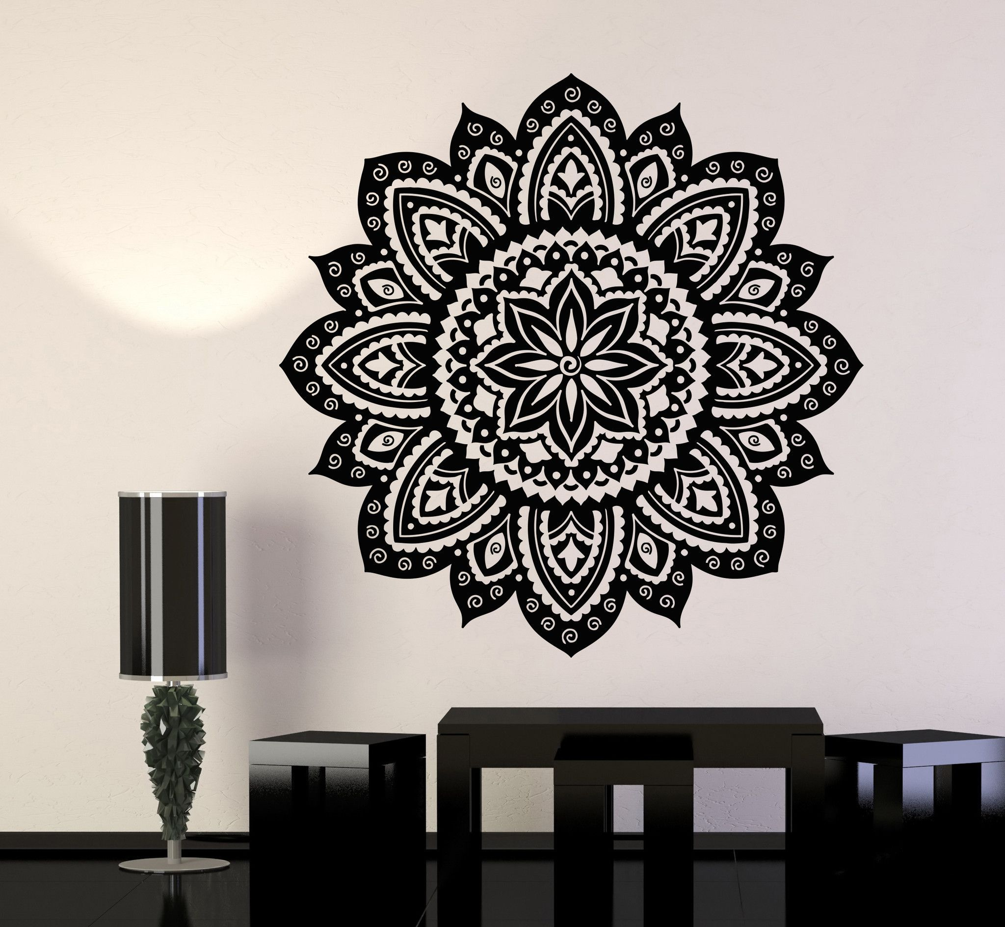 Vinyl Wall Decal Yoga Studio Mandala Lotus Flower Home Decor - Yoga studio wall decals
