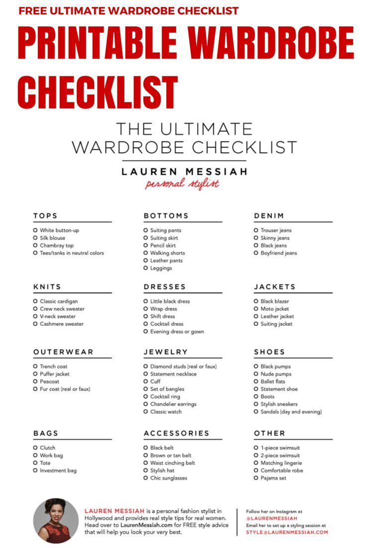 Capsule wardrobe list kids capsule ideas pinterest wardrobes free checklist for the ultimate wardrobe stocked with all of the key closet staples pronofoot35fo Image collections