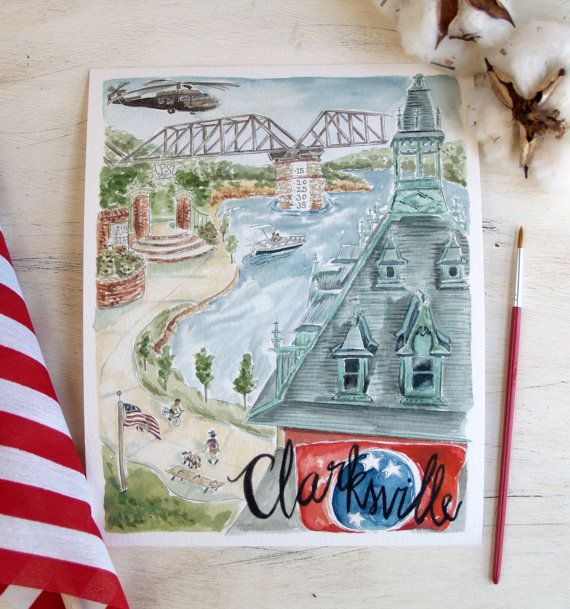 Original Print On Watercolor Paper Of Clarksville Tn By