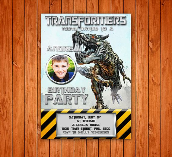 Transformers Dinobot Birthday Card Customized Birthday Theme - Party invitation template: transformers birthday party invitations template