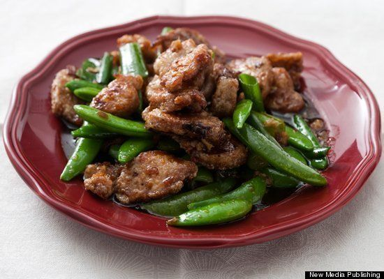 Stir fried pork with sugar snap peas