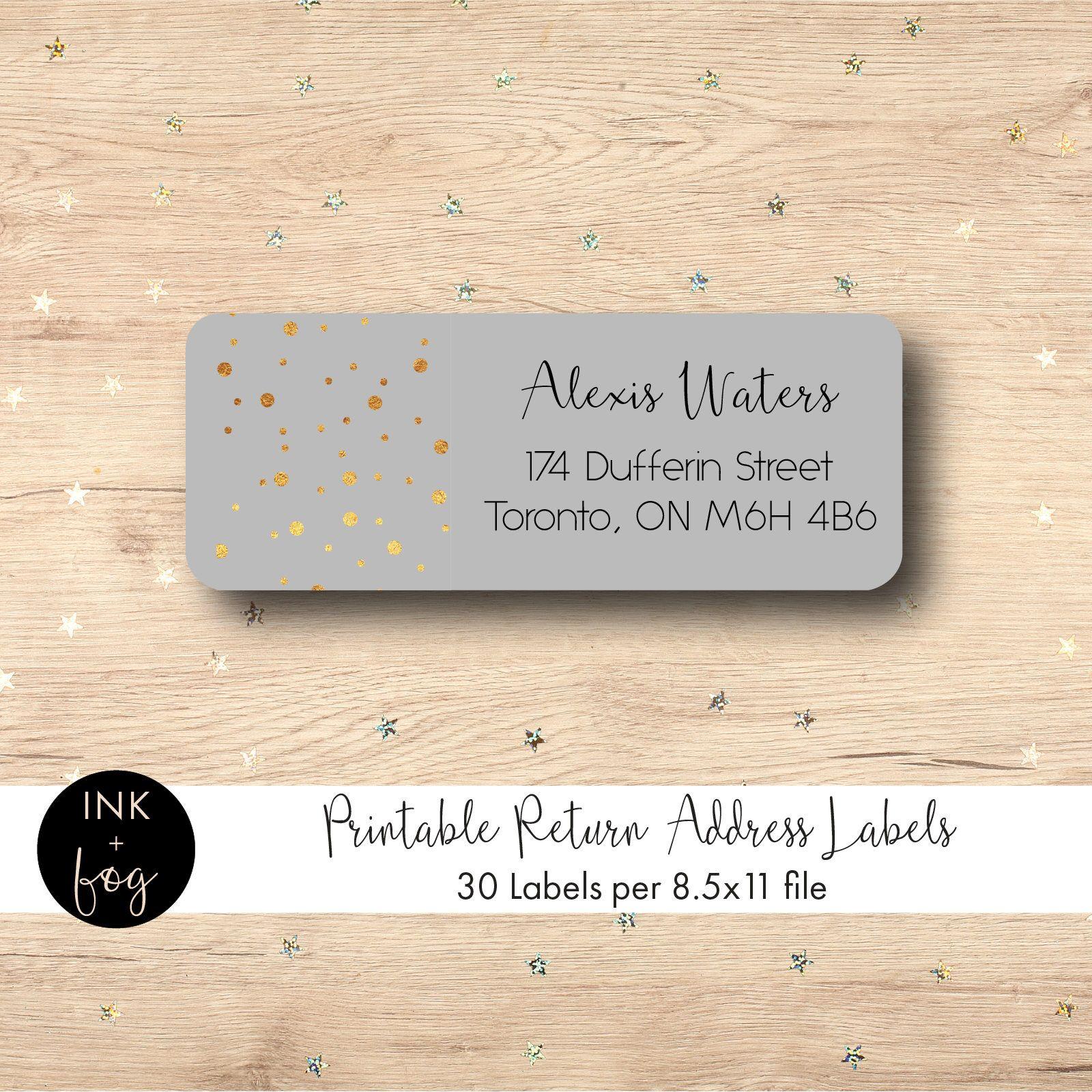 gold confetti return address mailing labels printable labels