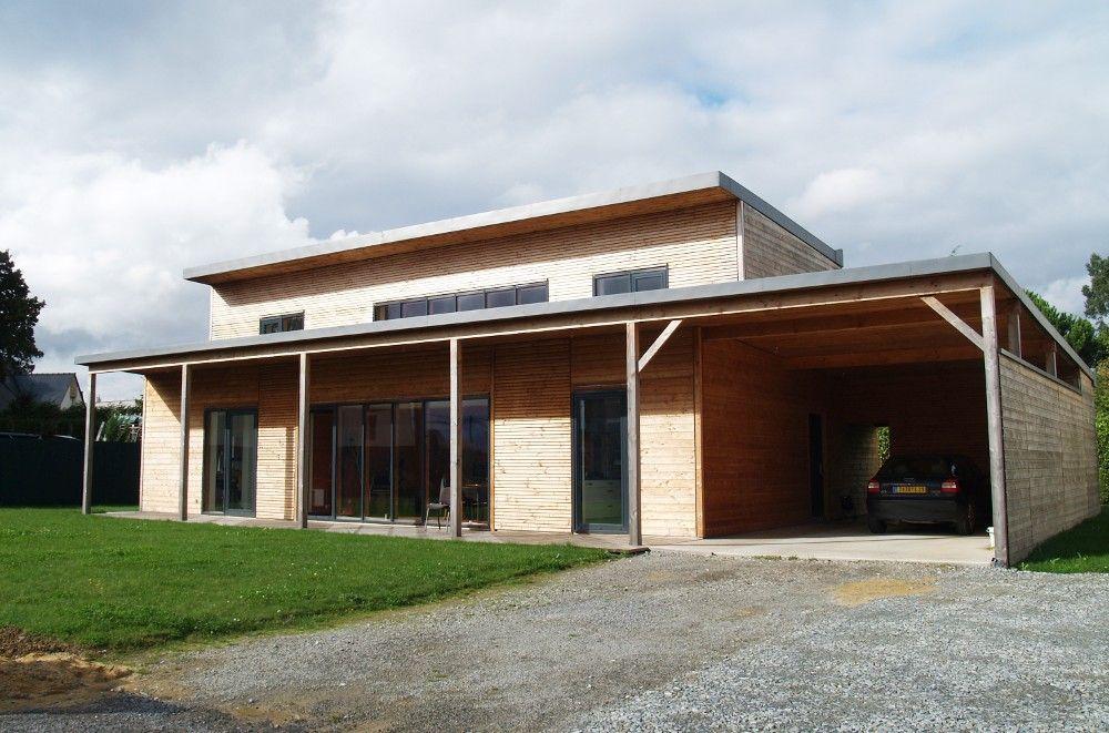 Maison bioclimatique en ossature bois à faible impact - maison bois et paille