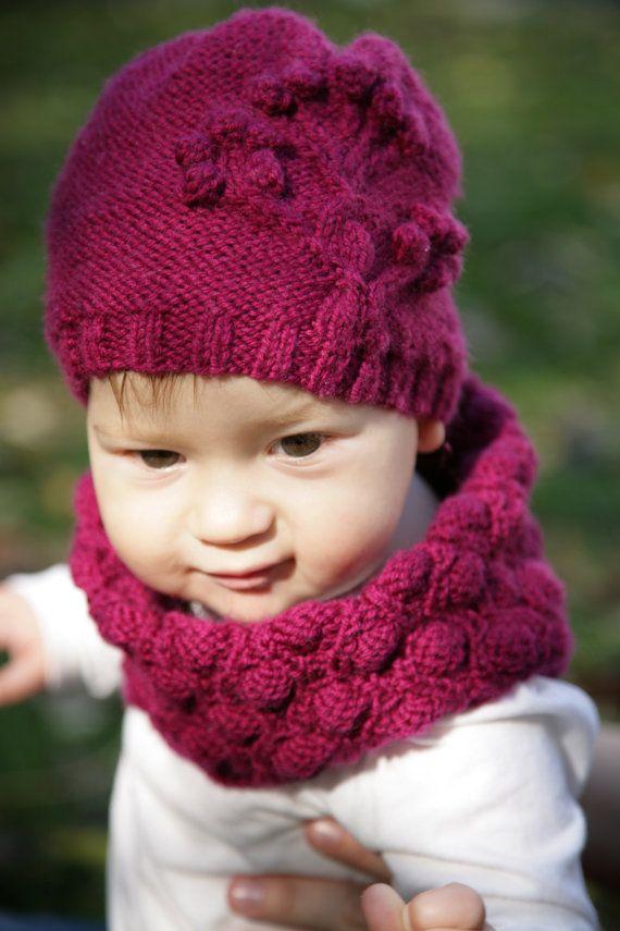 Knitting Pattern- NAPA VALLEY cowl & hat set- baby, child, toddler ...