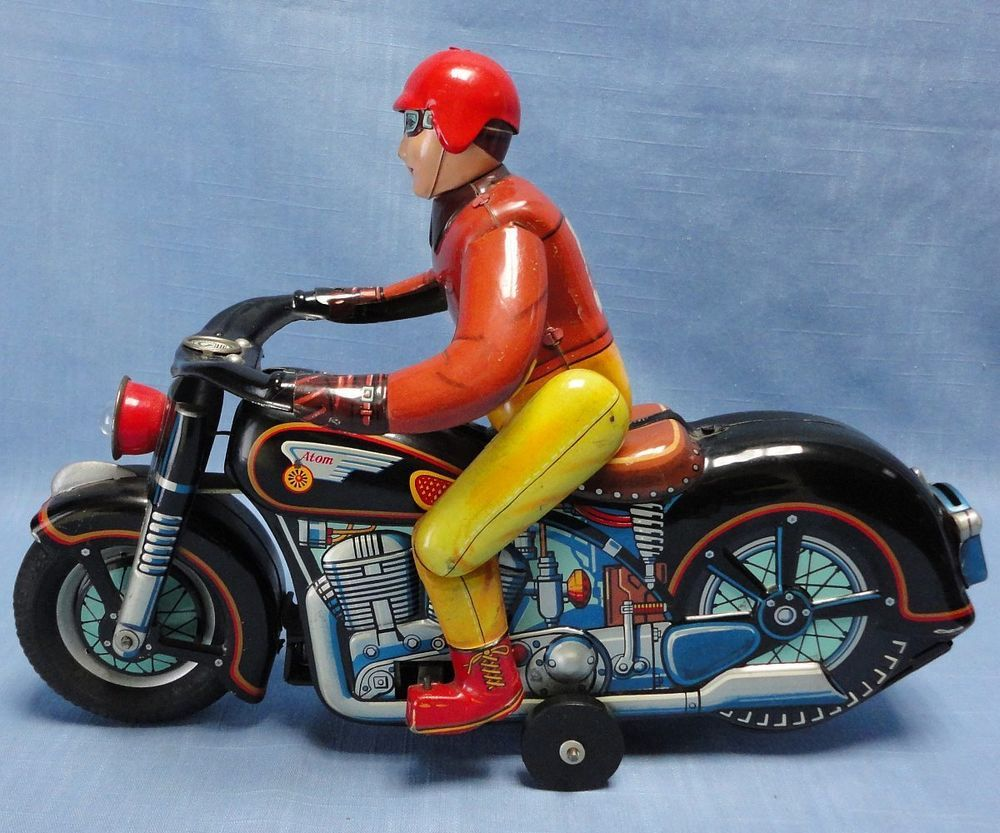 small resolution of vintage masudaya modern toys battery operated tin atom motorcycle made in japan