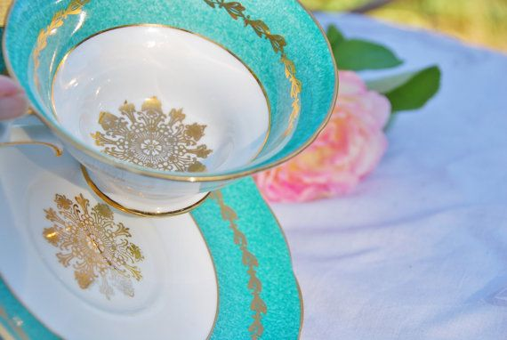 Sparkling, Large, Grosvenor Tea Cup and Saucer, Teal/Aqua/Turquoise and Gilt Medallion, England