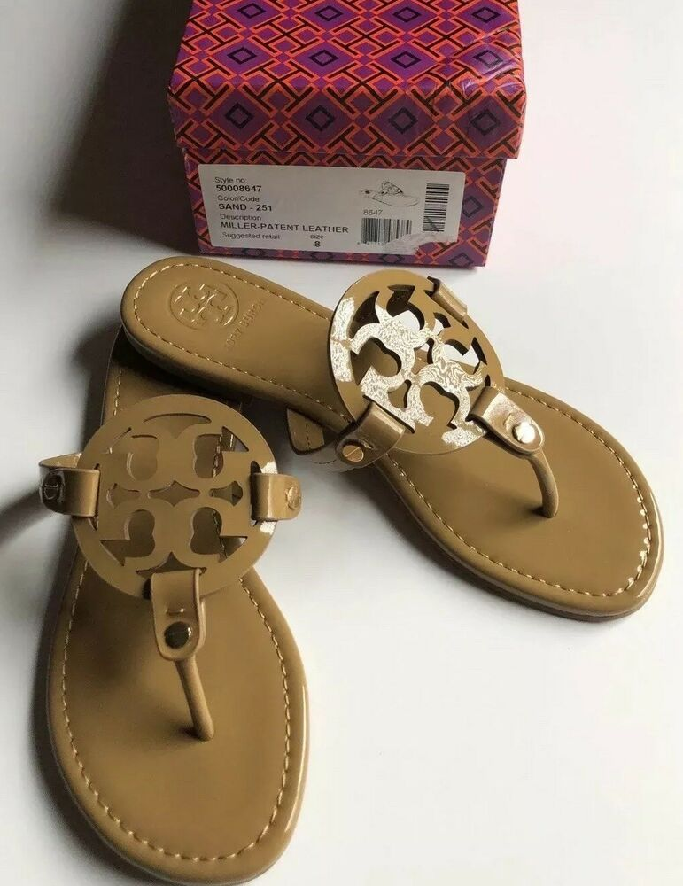 a5e6d2ac8 New Tory Burch Nude Patent Leather Miller Logo Sandals Size 8 M-.-