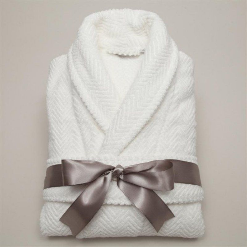 Luxury Hotel & Spa Herringbone Weave 100% Turkish Cotton Unisex Bathrobe