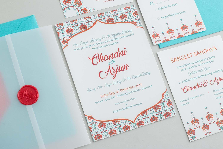 Chandni Wedding Invitation — Indian Ink Stationery   Wedding invitations, Wedding  invitation cards, Colorful wedding invitations