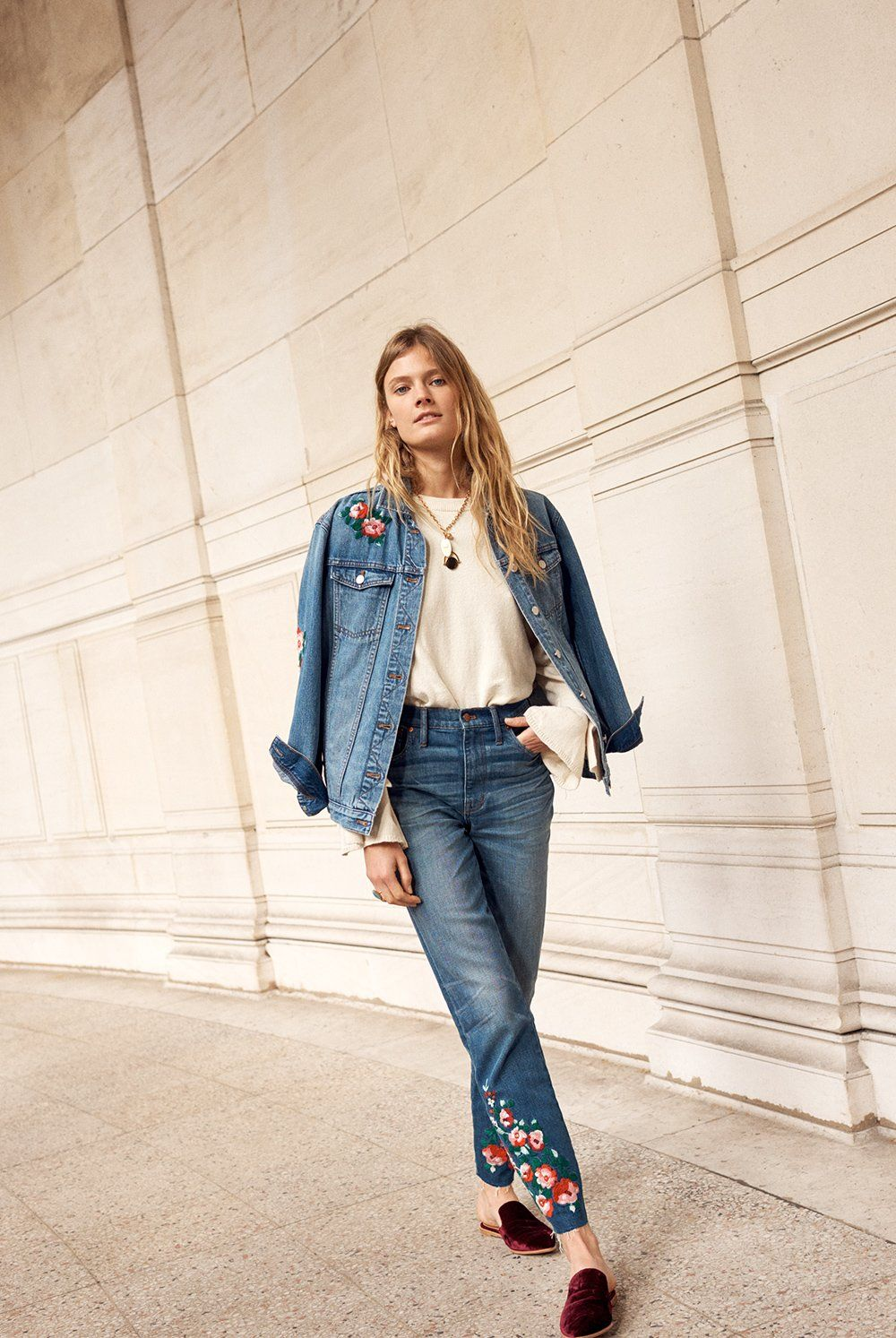 11362c823d madewell high-rise slim boyjean  embroidered edition wotn with the gemma  mule