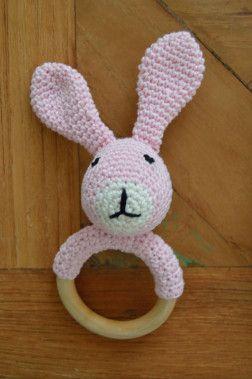 Crochet Free Pattern Rattle Bunny Baby Bijtring Rammelaar Konijn