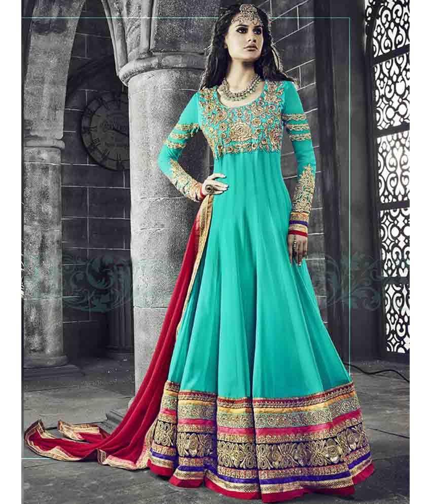 Naksh - Sea Green Colour Pure Georgette Anarkali Style Suit ...