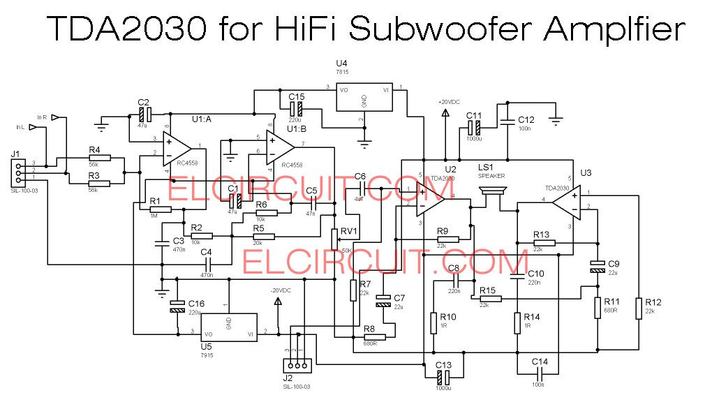 TDA2030 make for Subwoofer Amplifier Circuit in 2019 | 2030 with 4558 filter | Car amplifier