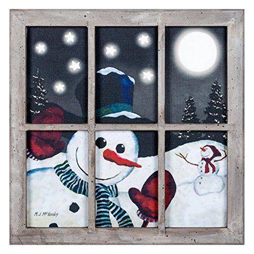 Window Peeking Snowman Led Lightup 10 X 10 Inch Christmas Window Frame Wall Art Amazon Mo Christmas Canvas Christmas Window Painting Christmas Scene Drawing