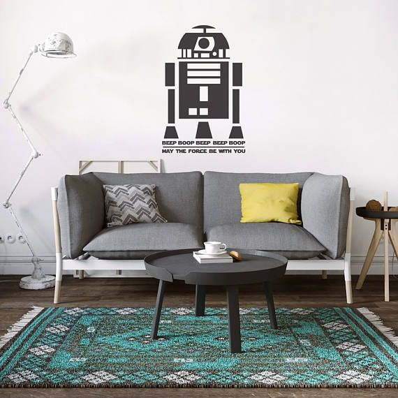 R2 D2 Star Wars Wall Decal Home Office Decor Star Wars Logo Black Removable  Vinyl